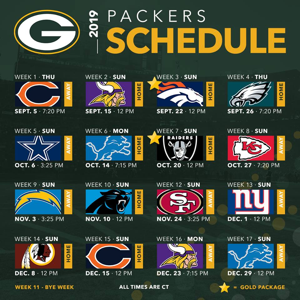 This is a photo of Trust Green Bay Packers Printable Schedule